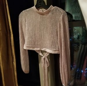 Sparkly bell sleeve open tie back button crop top